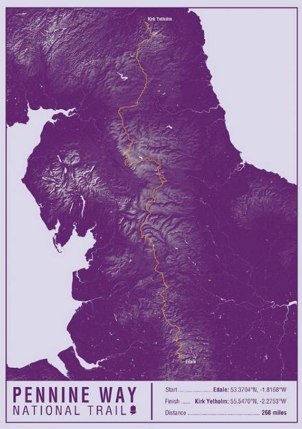 Pennine Way National Trail Map Print